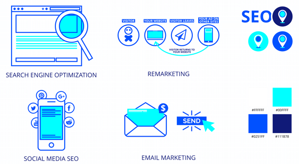 Various SEO graphic icons